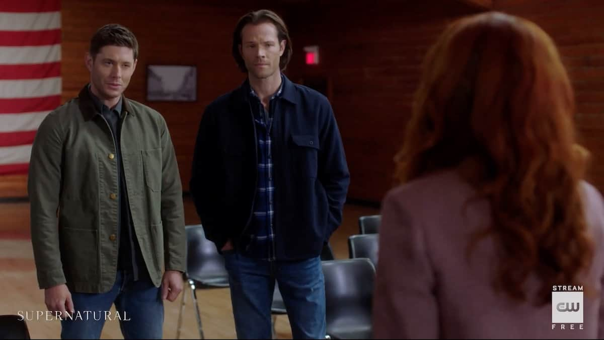 Dean (Jensen Ackles) and Sam (Jared Padalecki) talk with an unknown woman in Supernatural. Pic credit: The CW