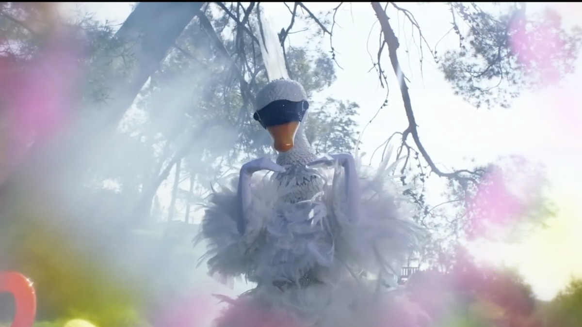 The Masked Singer reveals the identity of the celebrity behind the Swan. Pic credit: FOX