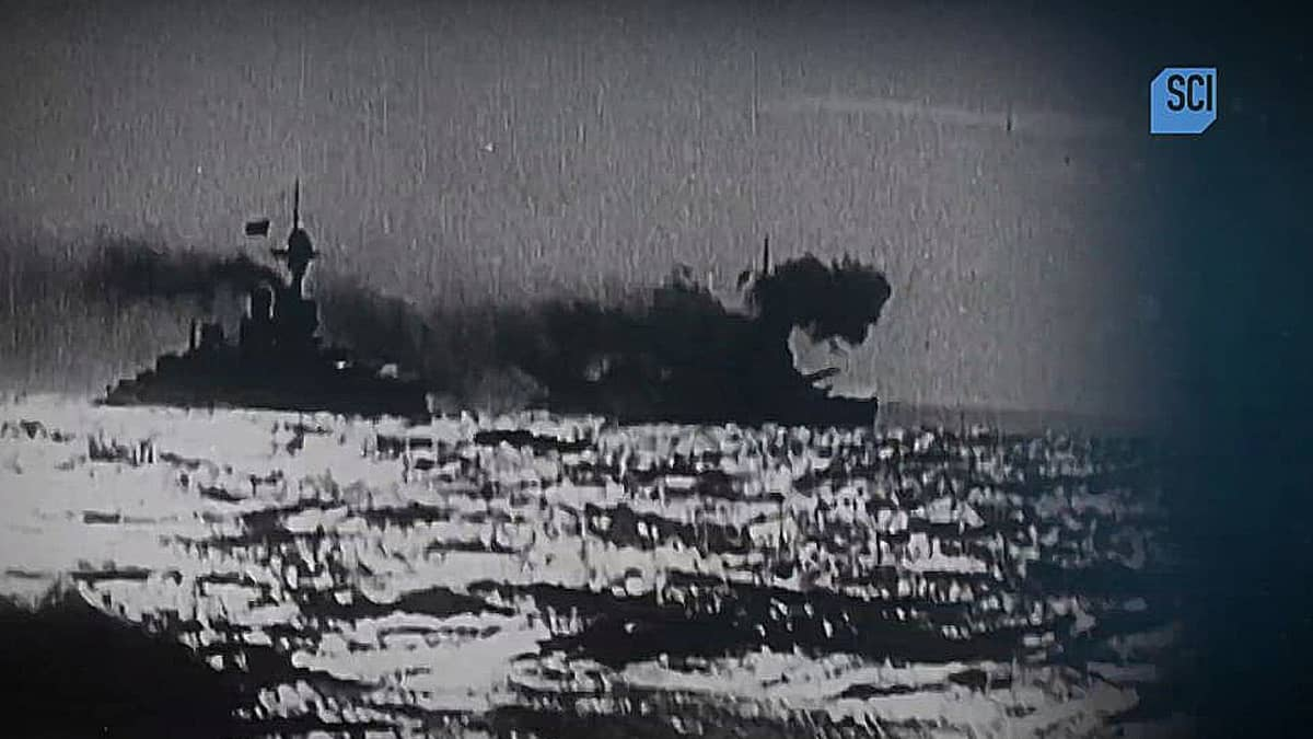 A still of the footage obtained by Shipwreck Secrets that shows the ferocity of the sea battle back in 1916