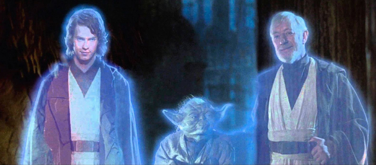 In Star Wars: Return of the Jedi, Anakin Skywalker, Yoda, and Obi-Wan Kenobi smile at the end scene