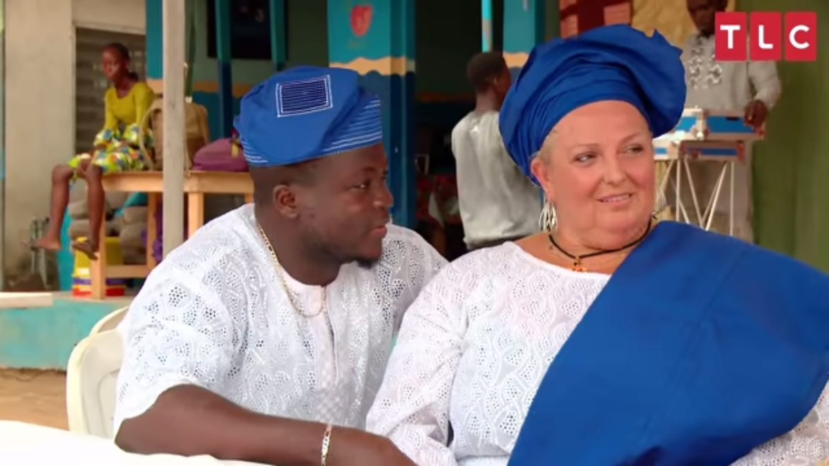 Angela and Michael at their engagement party in Nigeria