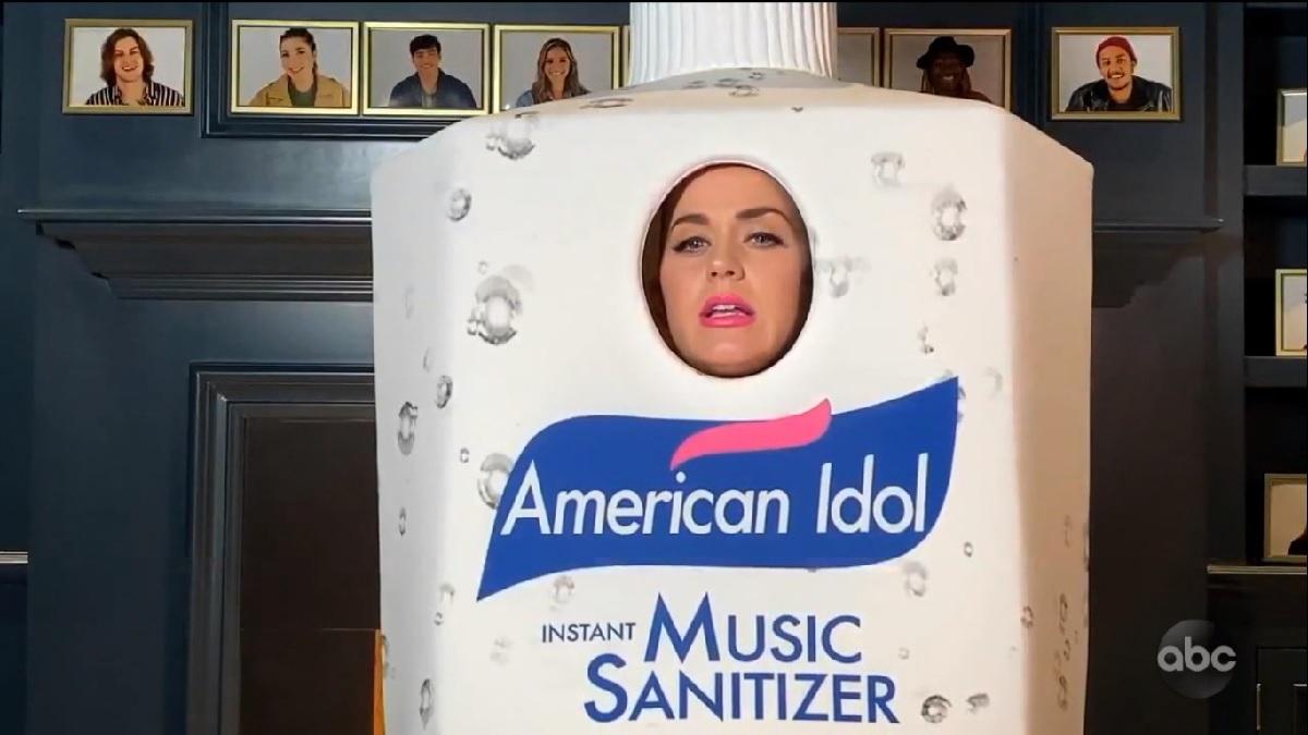 Idol judge Katy Perry wearing an American Idol music sanitizer costume