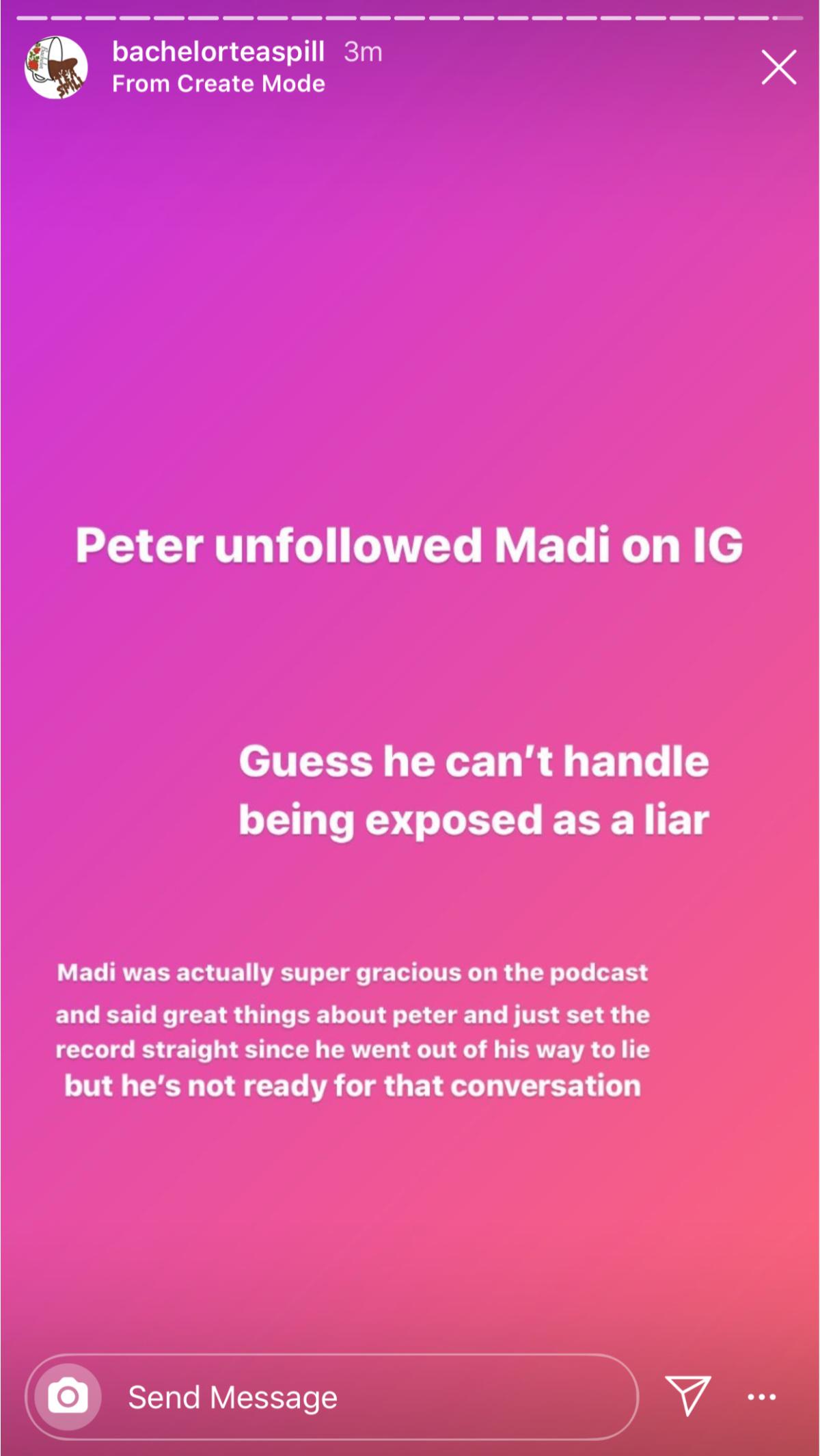 Peter unfollows Madi