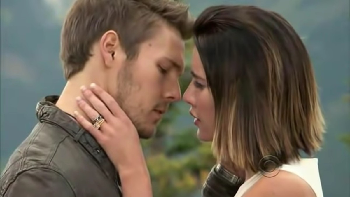 Jacqueline MacInnes Wood and Scott Clifton as Steffy and Liam on The Bold and the Beautiful.