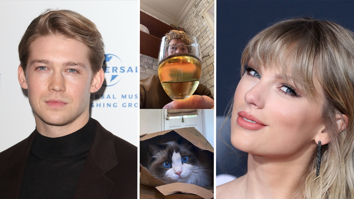 Joe Alwyn, Taylor Swift, and two of his photos