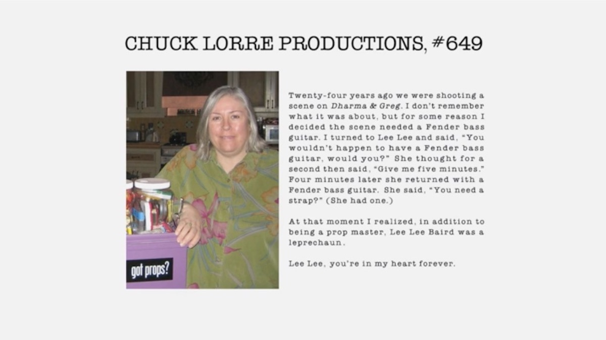 Lee Lee Baird tribute from Chuck Lorre Productions
