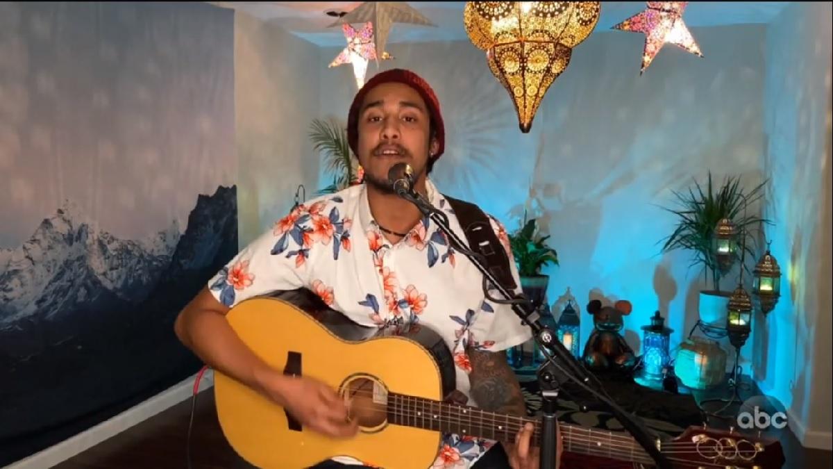 Arthur Gunn sings from home
