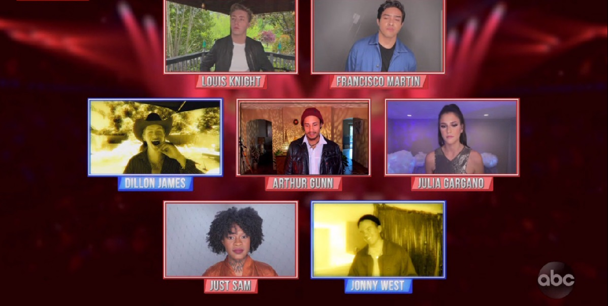 American Idol Top Seven contestants in square boxes