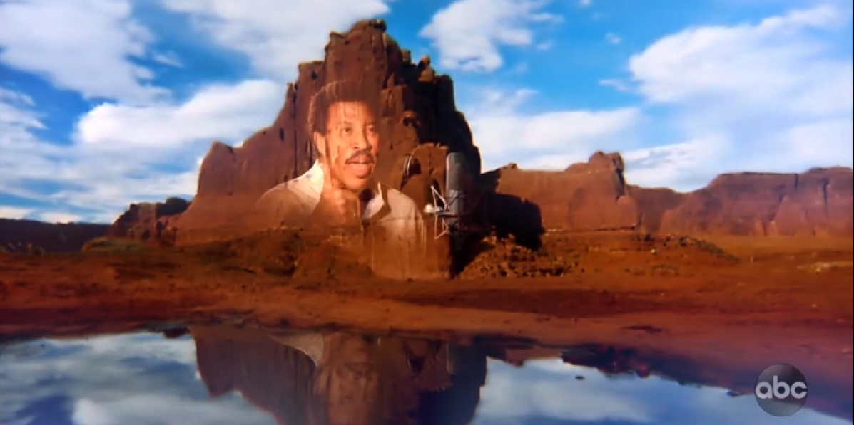 Lionel Richie's face on a mountain