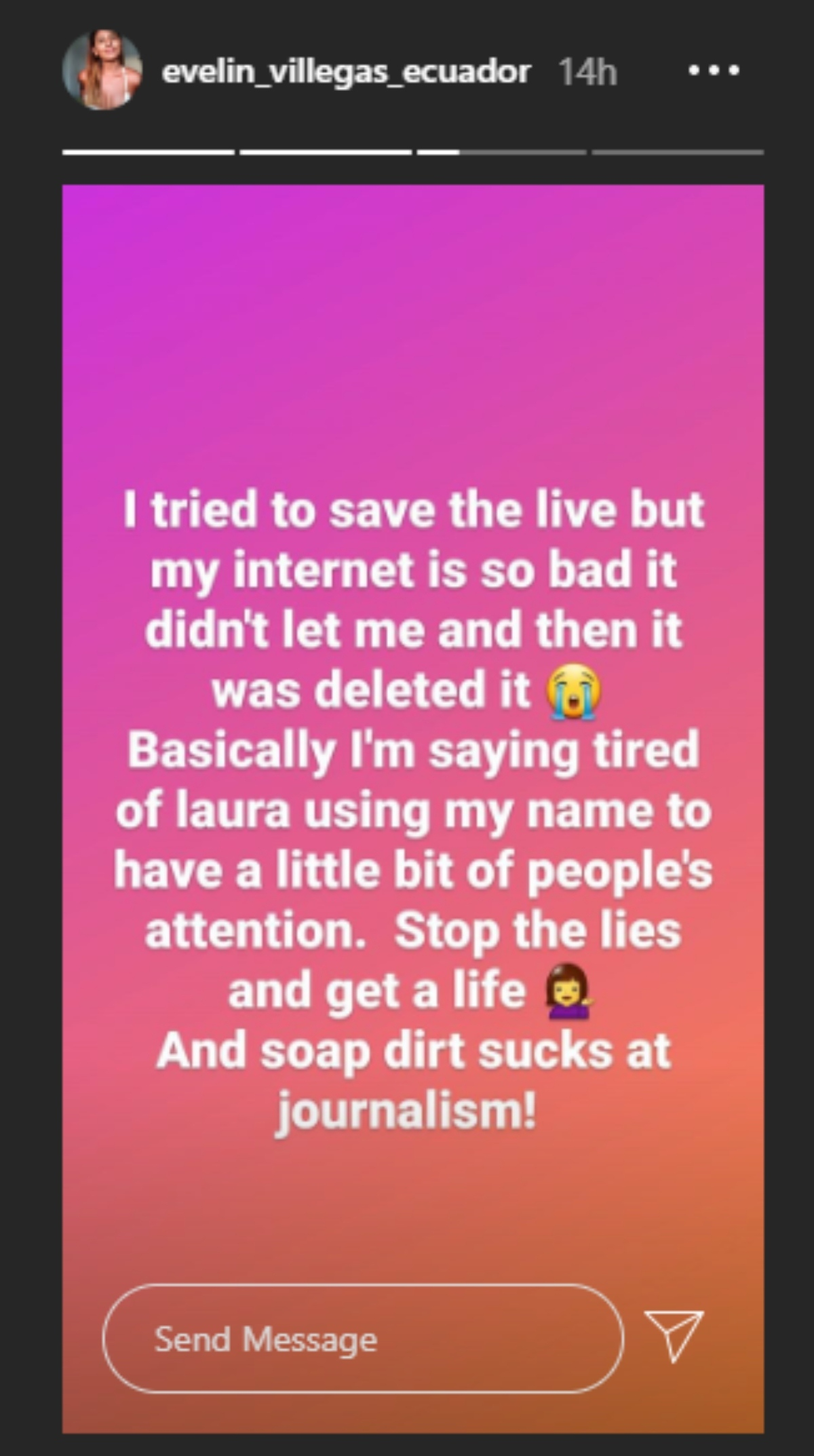 """Evelin lashes out at Laura for """"lying"""" about hher"""