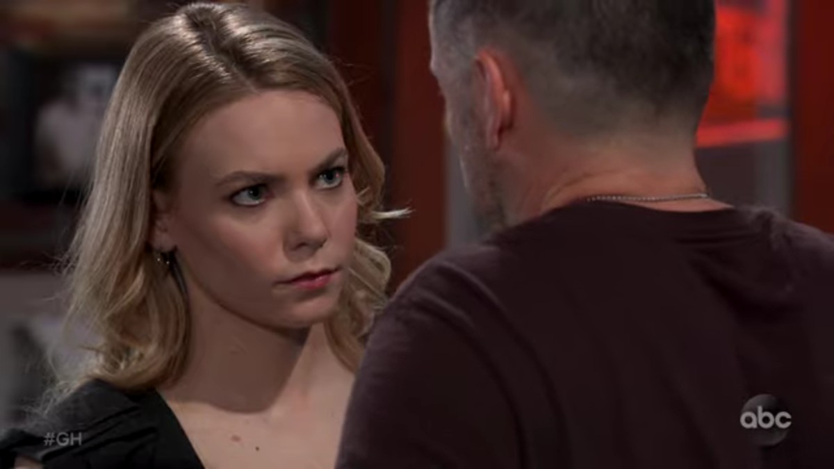 Chloe Lanier and William deVry as Nelle and Julian on General Hospital.
