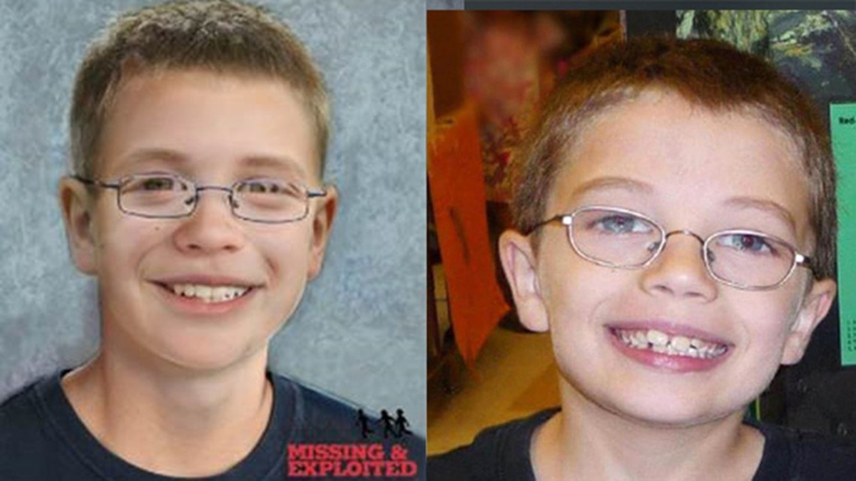 Photo of Kyron Horman before he went missing aside an age progressed photo