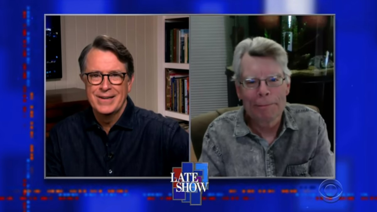 Stephen King and Stephen Colbert on the Late Show