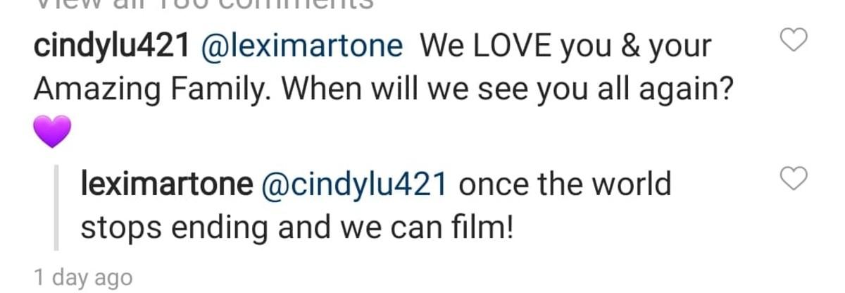 Lexi Martone's comment on Instagram.