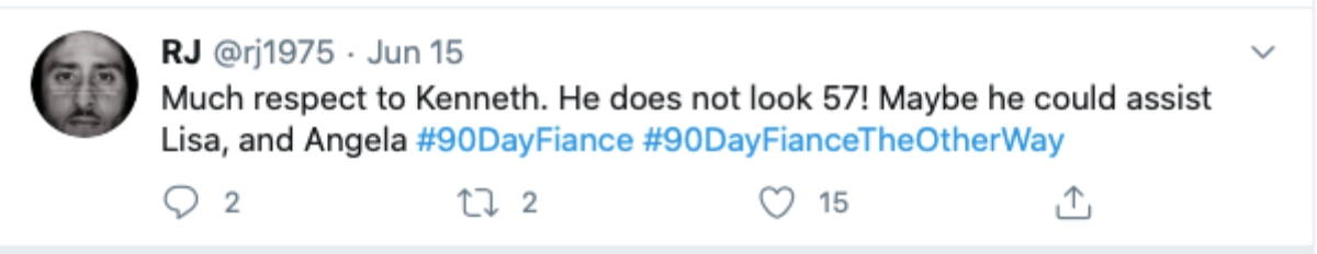 A twitter fan compares Kenneth to other 90 Day stars. Pic Credit: @rj1975 / twitter
