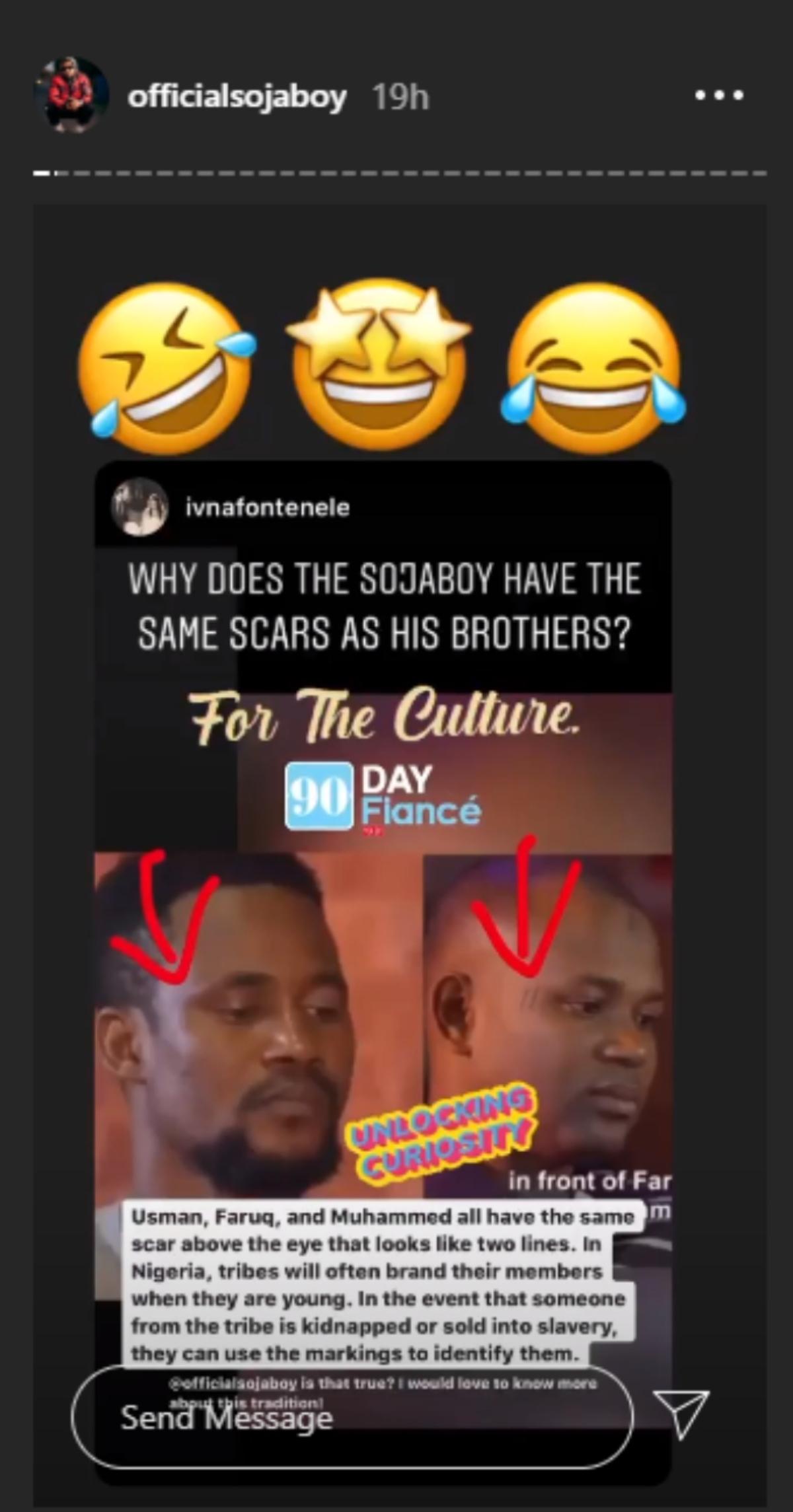 Usman's Instagram story explaining the scars. Pic Credit: @officialsojaboy/Instagram