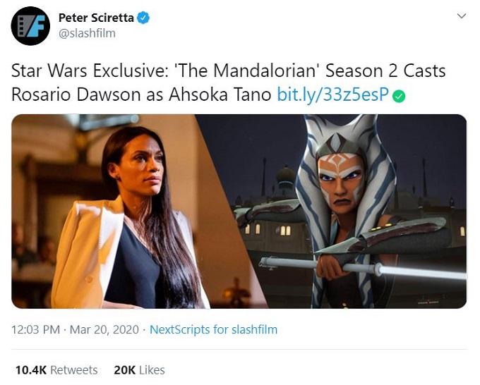 Rosario Dawson to play Ahsoka Tano in The Mandolorian Season 2