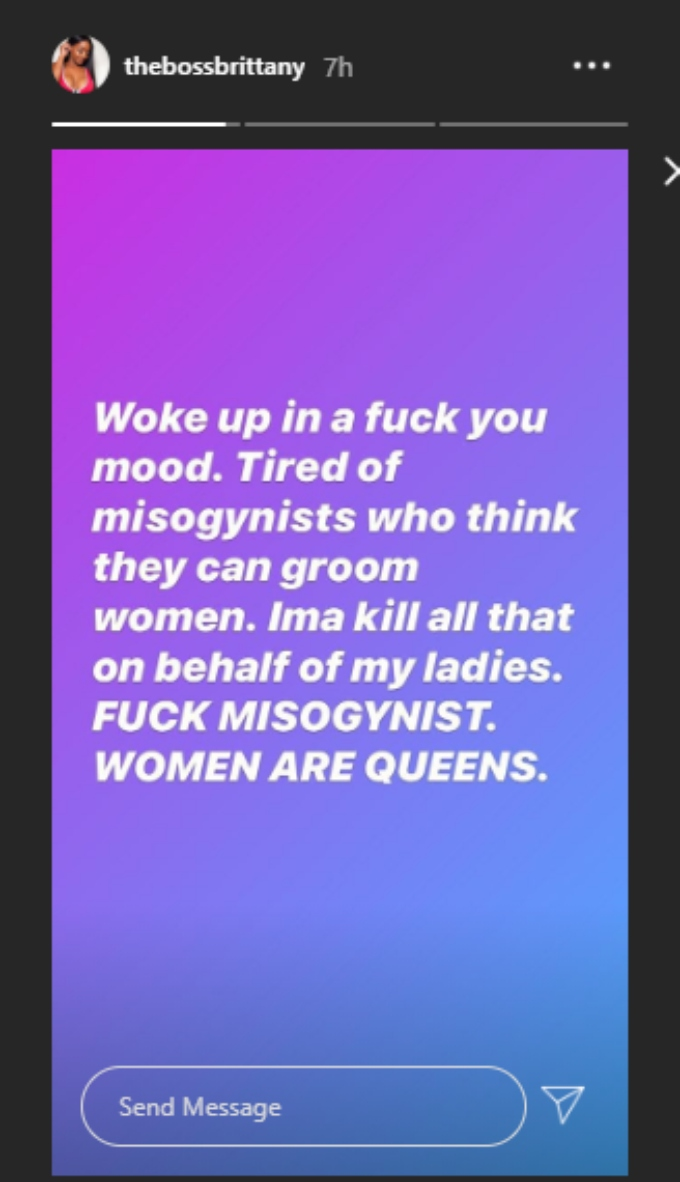 Brittany shares angry post to IG stories
