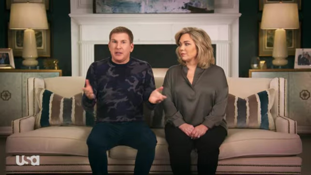 Todd and Julie Chrisley in a Chrisley Knows Best confessional.