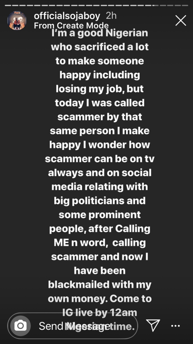 Sojaboy shares a message in IG stories