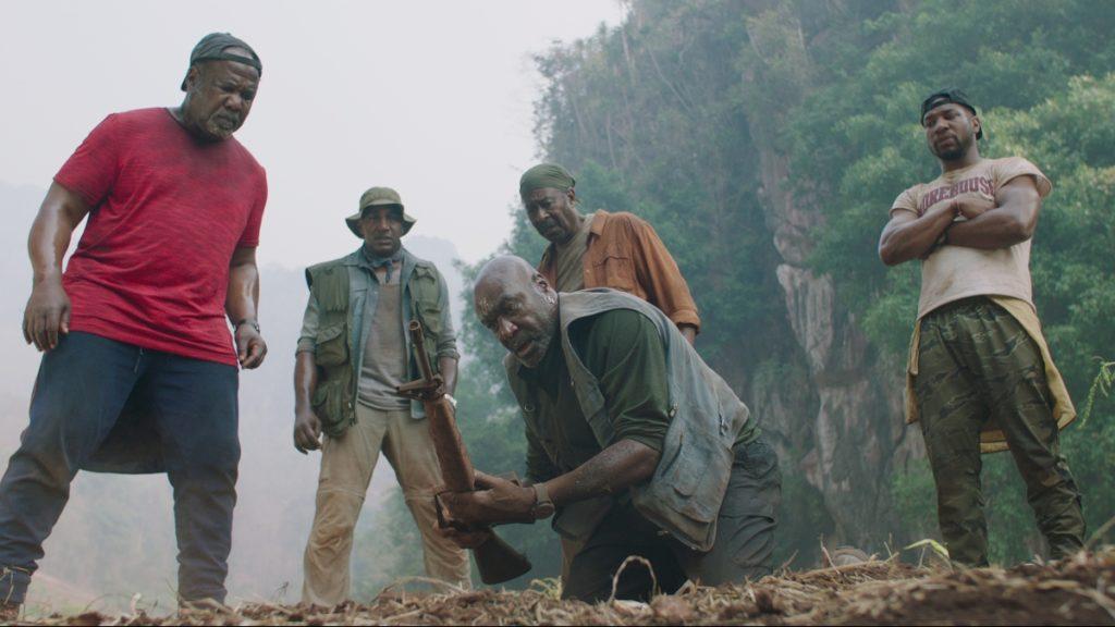Isiah Whitlock Jr.. as Melvin, Norm Lewis as Eddie, Delroy Lindo as Paul, Clarke Peters as Otis and Jonathan Majors as David in Da 5 Bloods