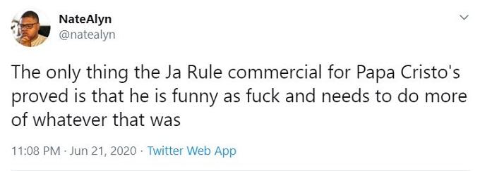 Ja Rule's ad for Papa Cristo