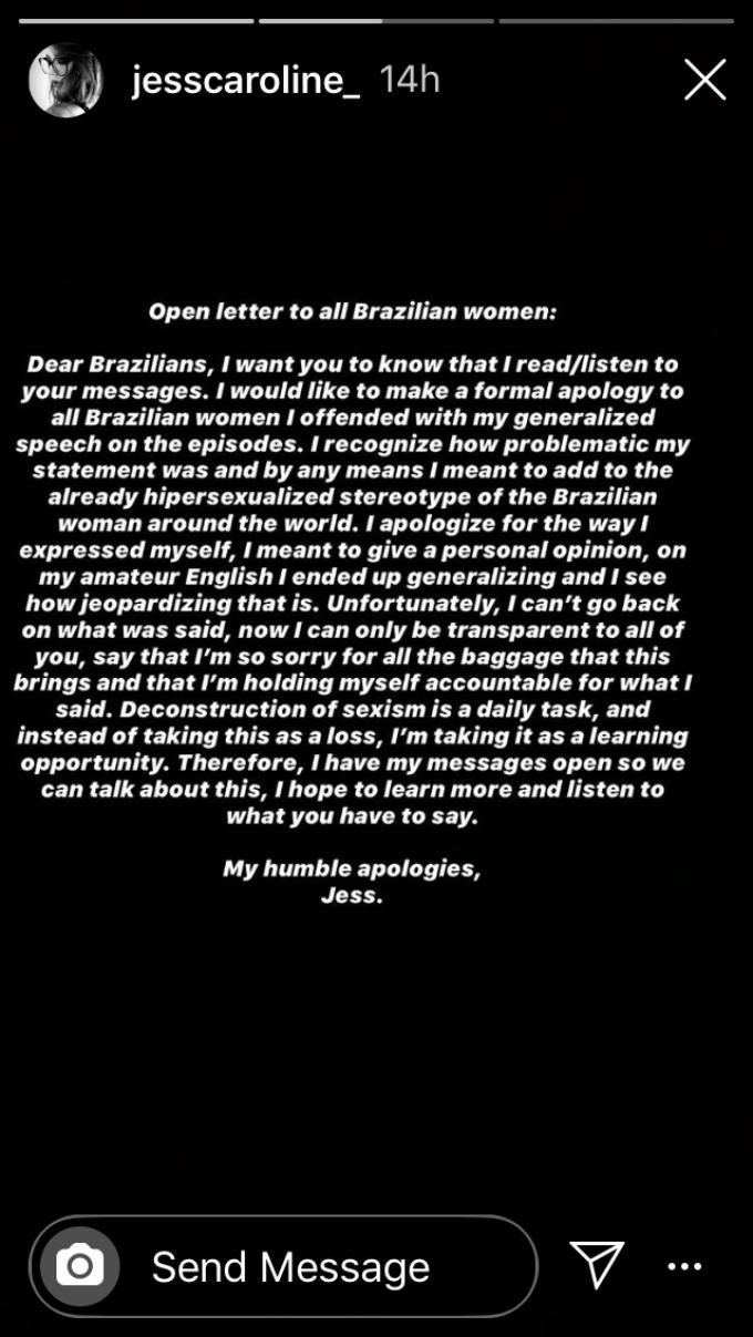 Jess apologizes to Brazilian women