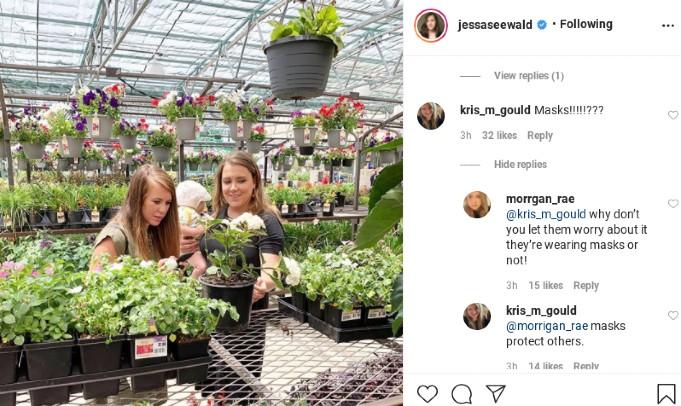 Jessa Duggar's Instagram comments.