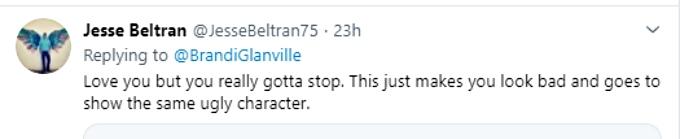 User responds to Brandi Glanville