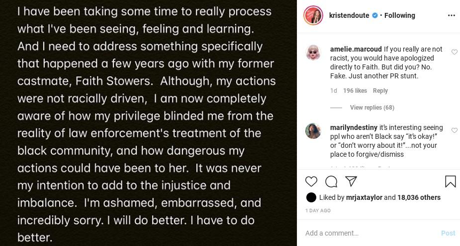 Kristen Doute's apology for her behavior.