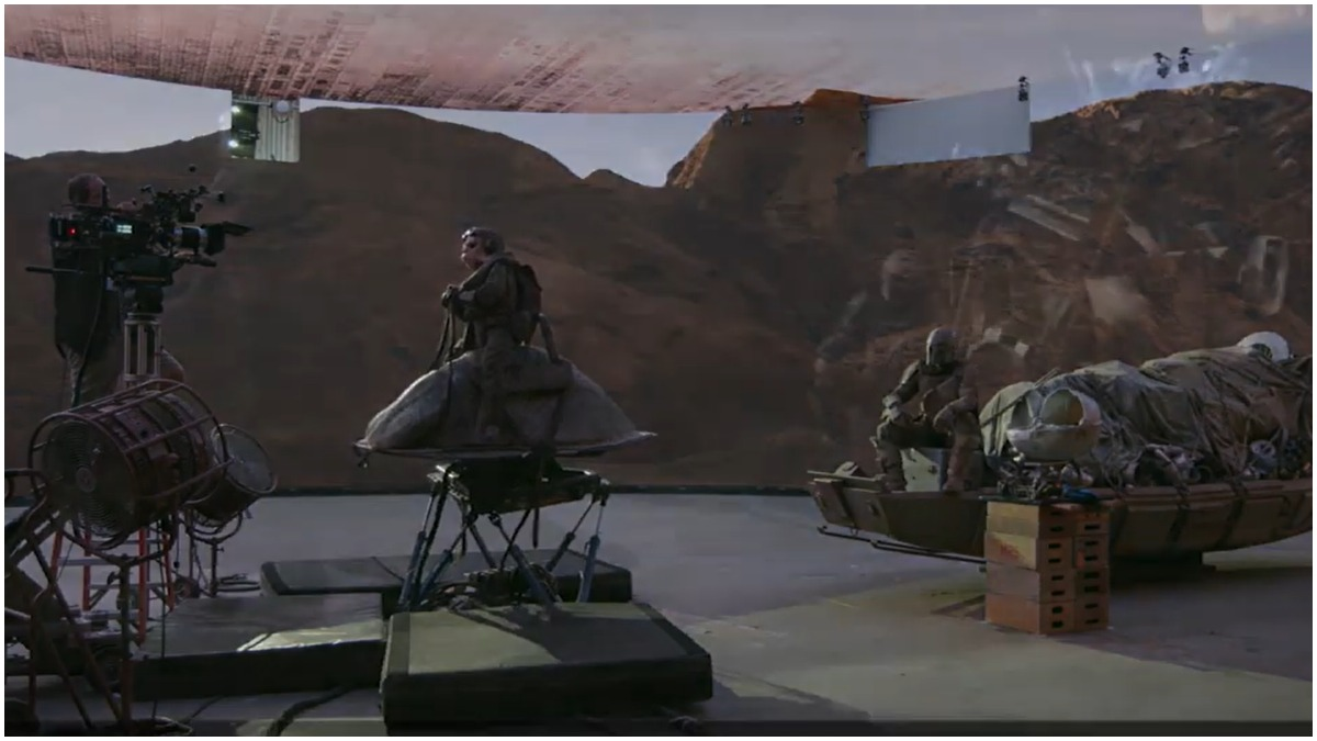 A scene in The Mandalorian is filmed against a video screen