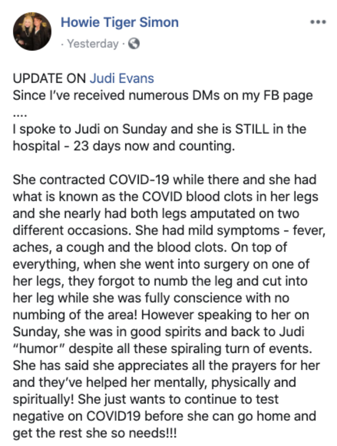 Judi Evans health update.