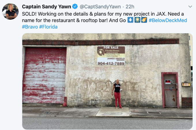 Captain Sandy is opening a restaurant and bar.