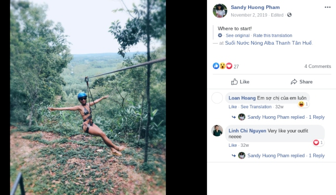 Faceook post of Sandy Huong Pham zip-lining.