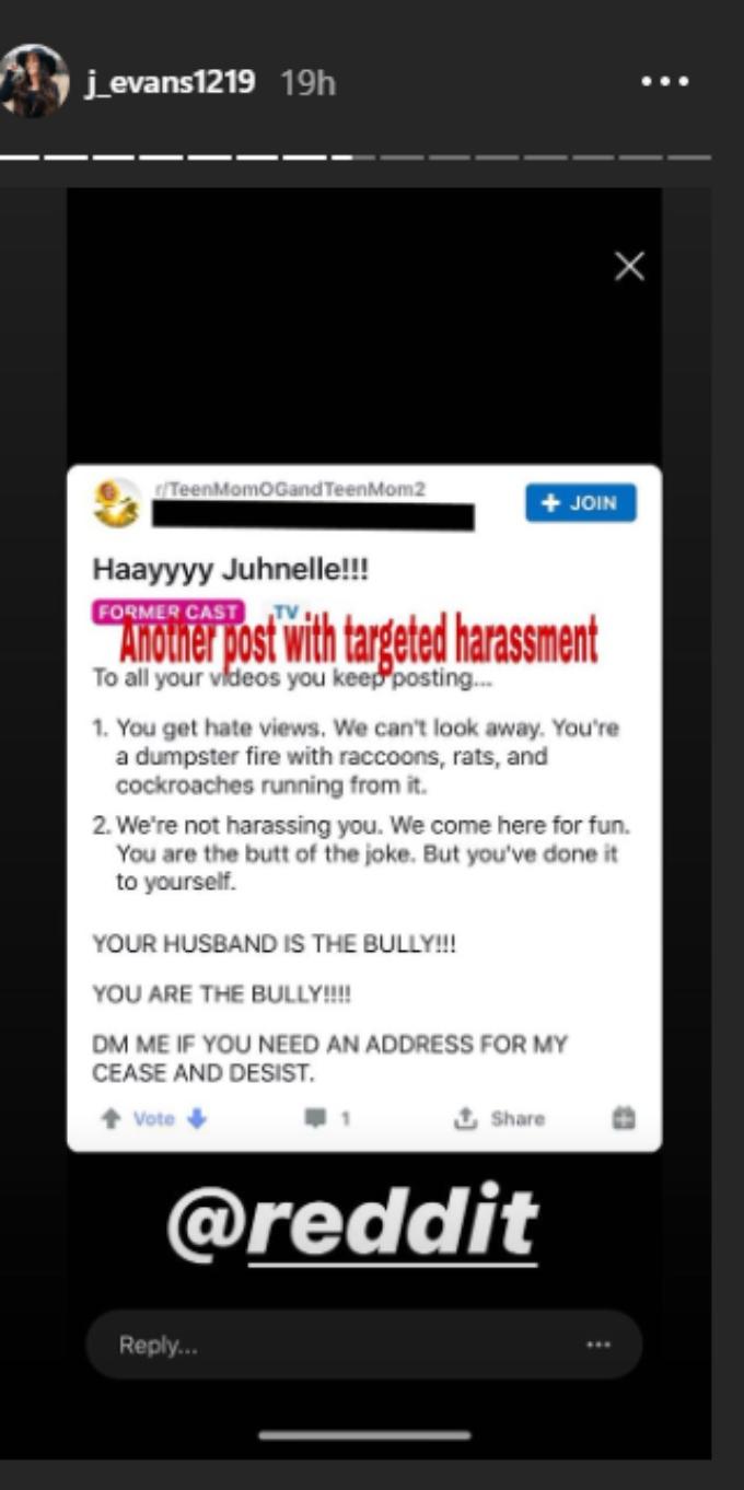 Evans shares proof of alleged harassment