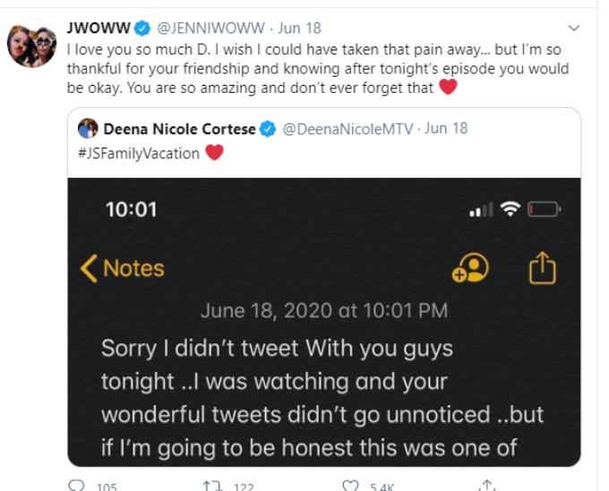 JWoww supports Deena on Twitter