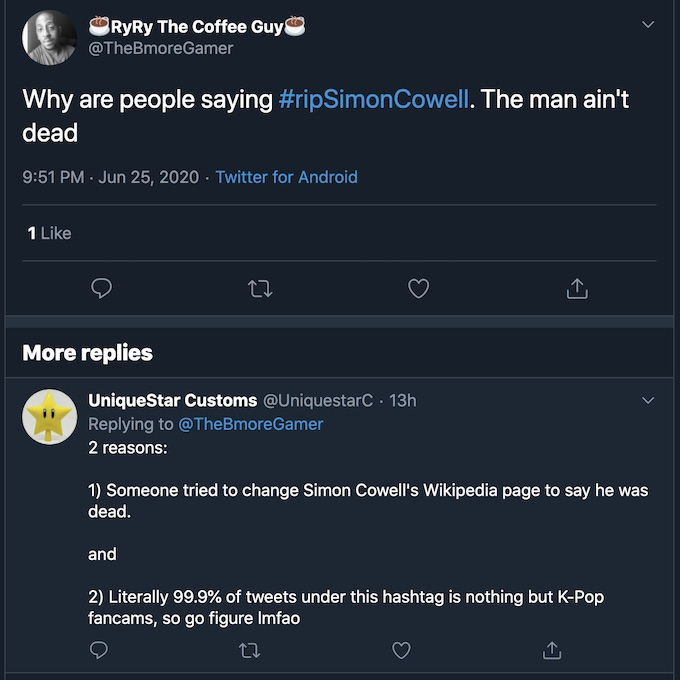 simon cowell dead twitter update