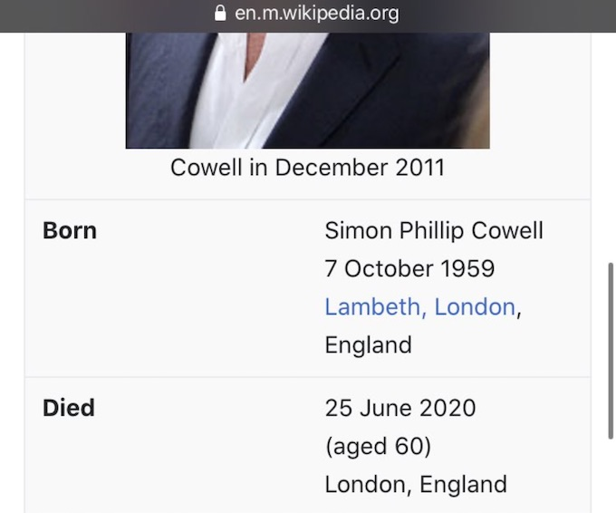 simon cowell wikipedia page changed