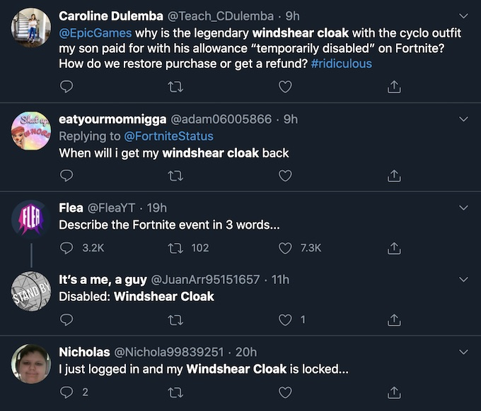 fortnite users wonder about windshear cloak disabled