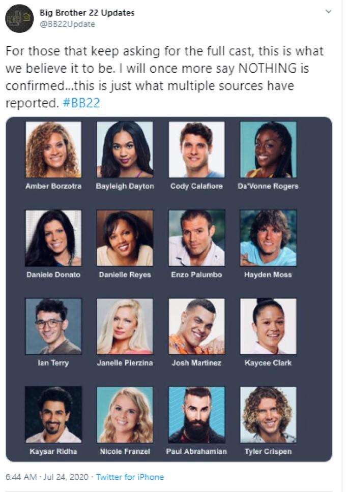 BB22 Cast List