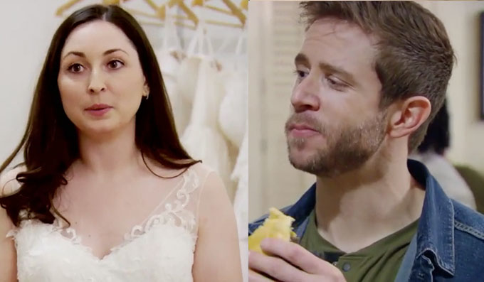 MAFS new couple Brett eating food and Olivia in a wedding dress