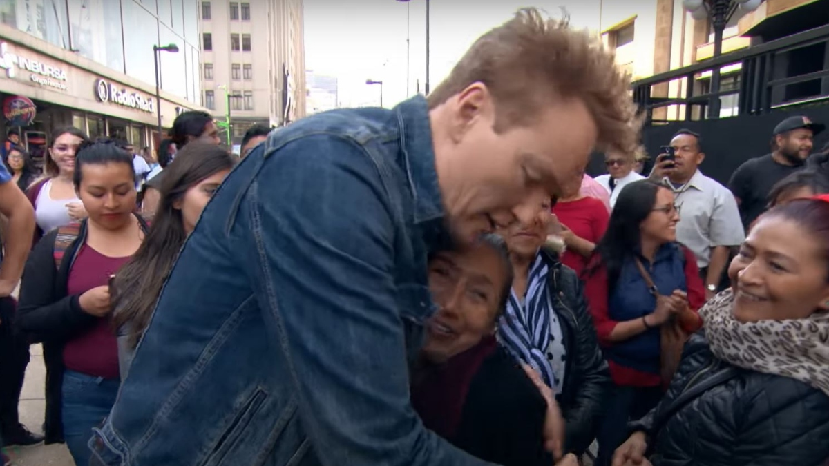Conan O'Brien hugging a stranger in Mexico from Conan Without Borders