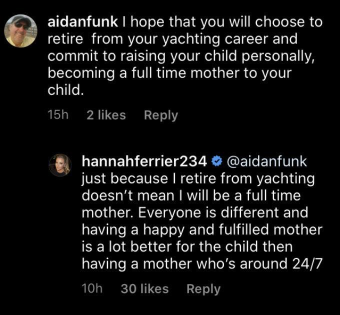 Below Deck Med star Hannah Ferrier slams troll who blasted working mothers.