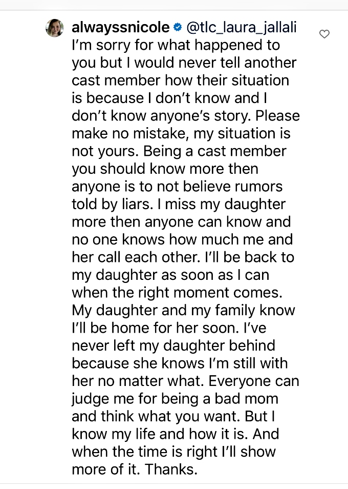 Nicole responds to Laura