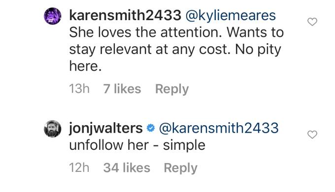 Jon tells fan to unfollow Nicole