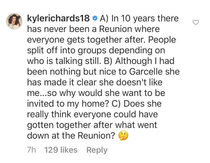 Kyle responds to Garcelle