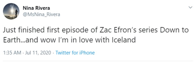 Tweeter praising Iceland after watching Down to Earth