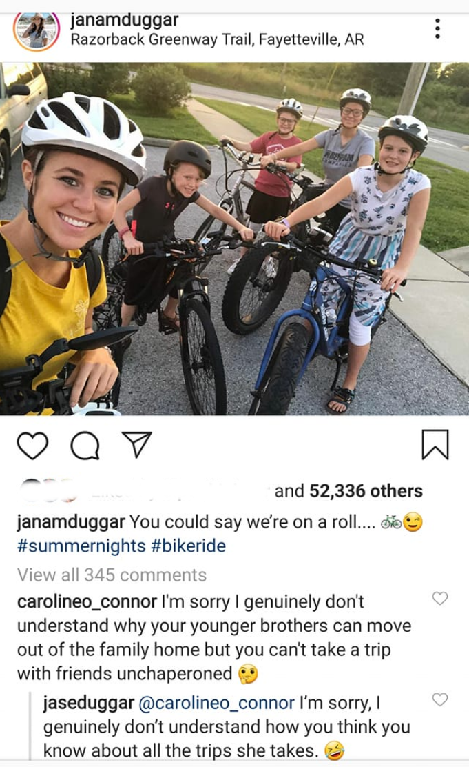 Jana Duggar's IG photo and comments.