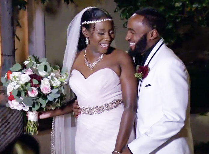 MAFS Season 11 couple Amani and Woody smiling on wedding day