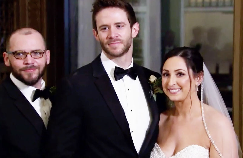 MAFS couple Olivia and Brett posing with family for wedding day photos